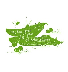 Of isolated green peas silhouette vector