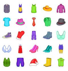 Outerwear icons set cartoon style vector