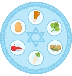 Seder plate of food flat style jewish holiday vector