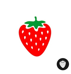 Strawberry cartoon Color symbol with white vector image vector image