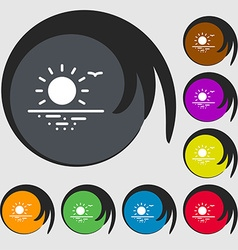 Sunset icon sign symbols on eight colored buttons vector