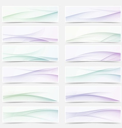 Swoosh wave lines smooth headers mega set vector image vector image