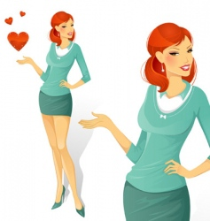 woman with love vector image vector image