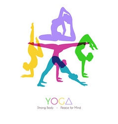 Women doing yoga asanas vector