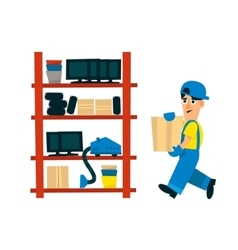 Worker bringing box to store on the shelf vector