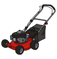 Red garden lawn mower vector