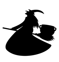 Witch pot luck potion on her broom vector