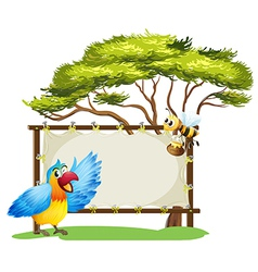 Parrot honey bee signboard vector