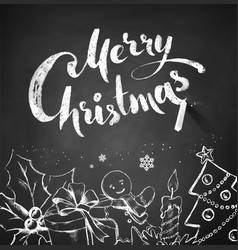 Chalked Christmas with lettering vector image