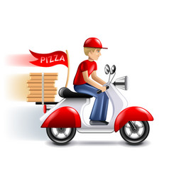 Pizza delivery courier on scooter isolated vector