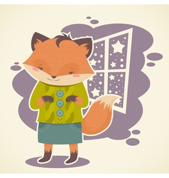 Cute cartoon fox character celebration card vector