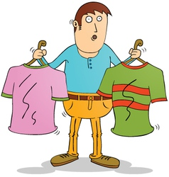 Man choosing clothers vector