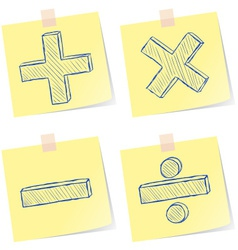 Mathematics signs sketches vector