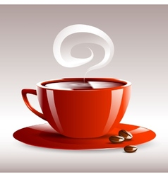 A red cup of hot coffee grain pairs vector
