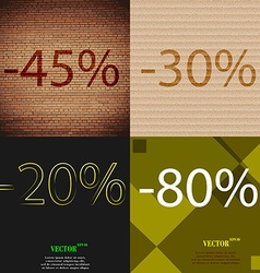 30 20 80 icon set of percent discount on abstract vector
