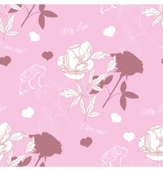 Seamless pattern with rose and peony vector
