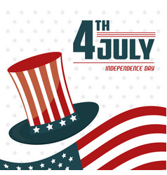 4th july independence day usa flag hat celebration vector