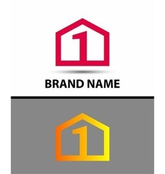 Logo number one 1 icon template with house icon vector