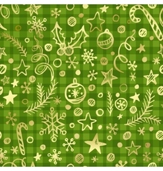 Cgristmas checkered seamless pattern with golden vector image