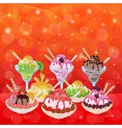 Ice cream cherry berry and abstract background vector