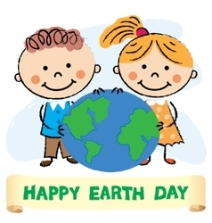 Kids with Earth day vector image