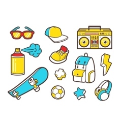 Youth culture symbols line icons vector