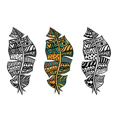 Zentangle stylized feathers vector image
