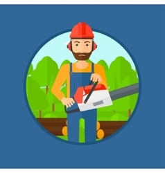 Woodcutter with chainsaw vector