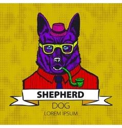 Portrait of german shepherd hand-drawn vector
