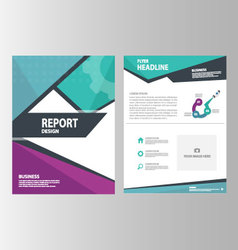 Blue green purple brochure flyer leaflet templates vector