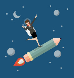 Business woman astronaut on pencil rocket vector