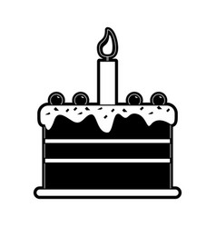 Cake with candle birthday pastry icon image vector