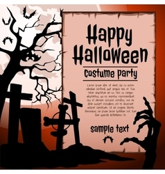 Cemetery and brown hand zombie party costumes vector