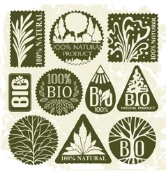 Collection of bio labels and badges vector image vector image