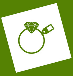 Diamond sign with tag white icon obtained vector