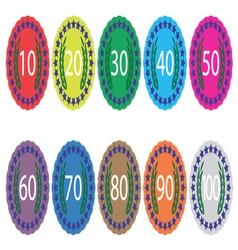 Emblem badge anniversaries color set vector