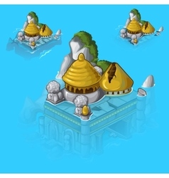 Flooded old castle in cartoon style vector image vector image