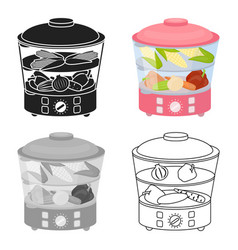 Food steamer icon in cartoon style isolated on vector