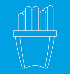 French fries icon outline style vector