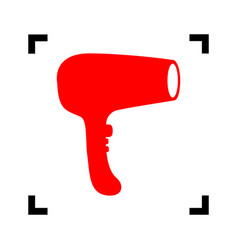 Hair dryer sign red icon inside black vector