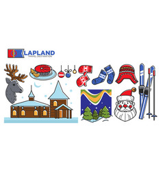 lapland travel destination promotional poster with vector image vector image