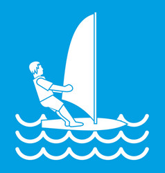 Man on windsurf icon white vector