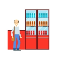 Man Standing Next To Display Case With Srinks vector image vector image