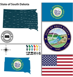 Map of South Dakota with seal vector image vector image