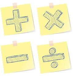 Mathematics signs sketches vector image