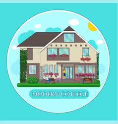 Modern cottage people plants vector