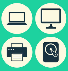 Notebook icons set collection of desktop vector