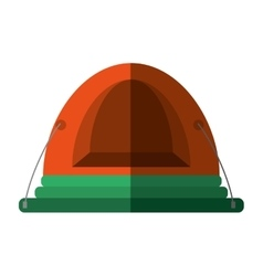 Orange dome tent hiking forest camping shadow vector