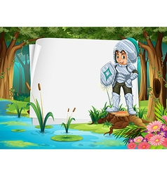Paper design with knight in the forest vector image