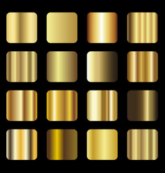 Set of gold foil texture gradation vector